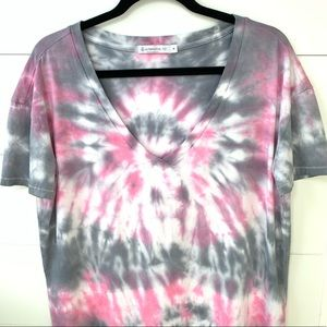 Tie dye pink and grey shirt boxy top t-shirt